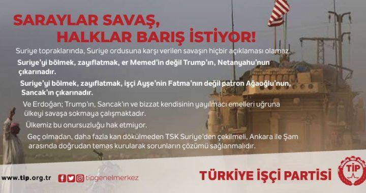 SARAYLAR SAVAŞ, HALKLAR BARIŞ İSTİYOR